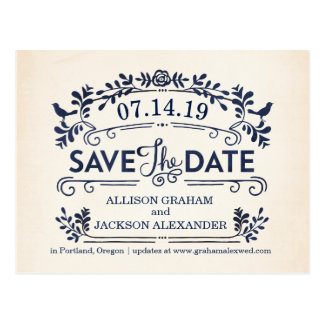 Ornate Birds Save the Date Postcard