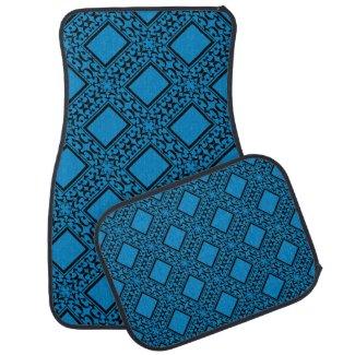 Ornate Black and Blue Car Mat