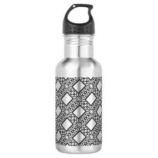 Ornate Black and Silver Diamonds 18oz Water Bottle