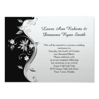 Ornate Black and Silver Floral Reception Only 5.5x7.5 Paper Invitation Card