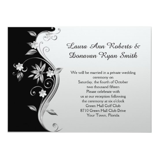 Ornate Black and Silver Floral Reception Only Invitation