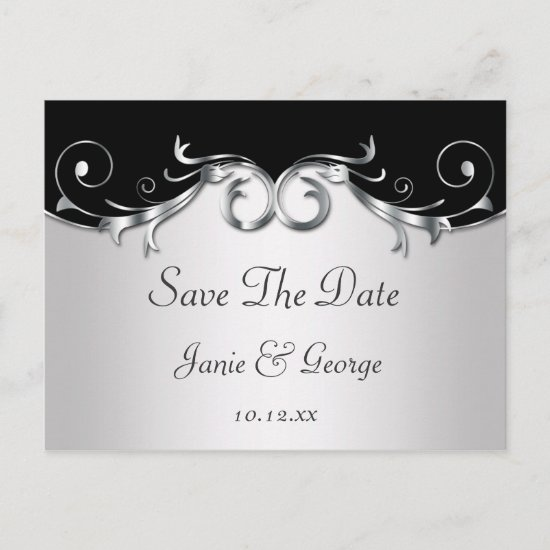 Ornate Black and Silver Swirls Save The Date Announcement Postcard