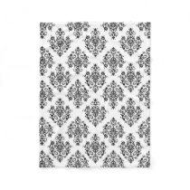 Ornate black and white Damask Fleece Blanket