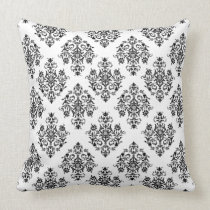 Ornate black and white Damask Throw Pillow