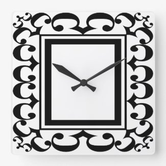 Ornate Black and White Framed Clock