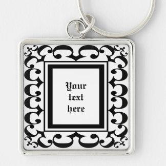 Ornate Black and White Keychain