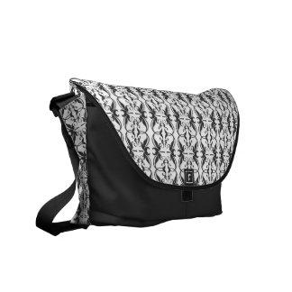 Ornate Black and White Leaf Damask Pattern Courier Bag