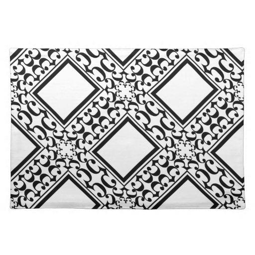 ornate black and white placemat zazzle. Black Bedroom Furniture Sets. Home Design Ideas