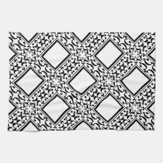 Ornate Black and White Towel