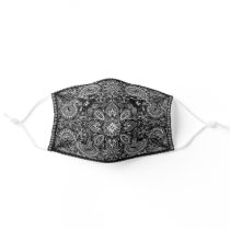 Ornate Black Bandana Cloth Face Mask