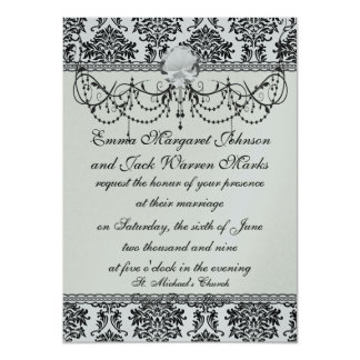 ornate black damask on white card
