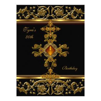 Ornate Black Gold Amber Jewel 30th Birthday 2 Custom Invite