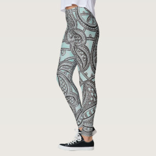 fff673708a315 Ornate Black Lace and Teal Pattern Leggings