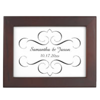 Ornate Black Swirls Wedding Keepsake Box
