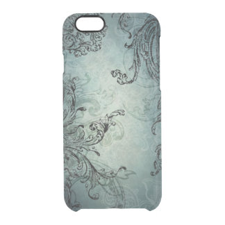 Ornate Black Vintage Swirls on Blue Clear iPhone 6/6S Case
