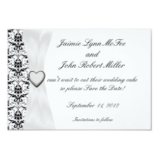 "Ornate Black White Damask Save the Date Cards 3.5"" X 5"" Invitation Card"