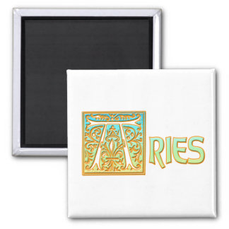 Ornate Blue and Gold Aries 2 Inch Square Magnet