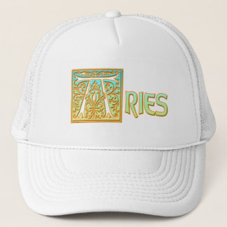 Ornate Blue and Gold Aries Trucker Hat