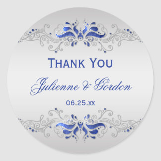 Ornate Blue and Silver Swirls Round Wedding Favor Classic Round Sticker