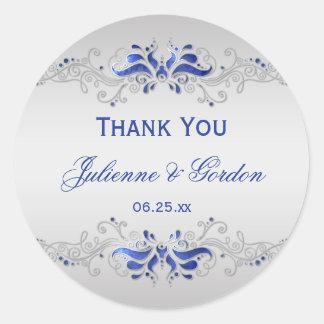 Ornate Blue and Silver Swirls Round Wedding Favor Classic Round Sticker
