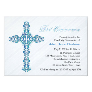 Ornate Blue Cross, First Communion Card