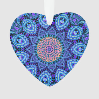 Ornate Blue Flower Vibrations Kaleidoscope Art