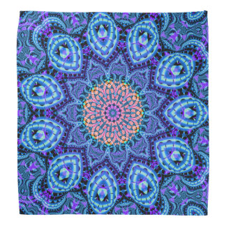 Ornate Blue Flower Vibrations Kaleidoscope Art Bandana