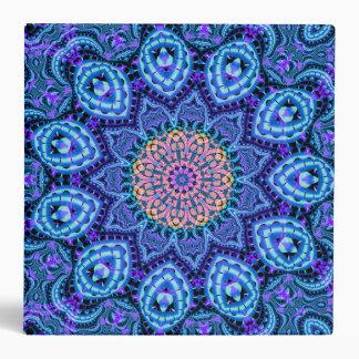 Ornate Blue Flower Vibrations Kaleidoscope Art Binder