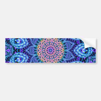 Ornate Blue Flower Vibrations Kaleidoscope Art Bumper Sticker