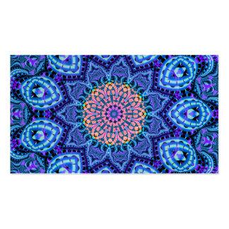 Ornate Blue Flower Vibrations Kaleidoscope Art Business Card