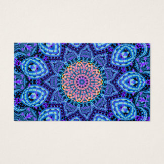 Ornate Blue Flower Vibrations Kaleidoscope Art Business Card