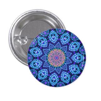 Ornate Blue Flower Vibrations Kaleidoscope Art 1 Inch Round Button