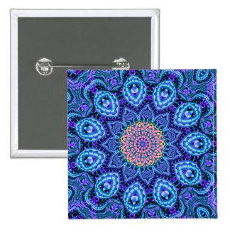 Ornate Blue Flower Vibrations Kaleidoscope Art 2 Inch Square Button