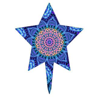 Ornate Blue Flower Vibrations Kaleidoscope Art Cake Topper
