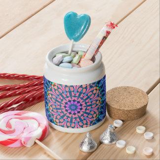 Ornate Blue Flower Vibrations Kaleidoscope Art Candy Dishes