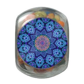 Ornate Blue Flower Vibrations Kaleidoscope Art Glass Candy Jar
