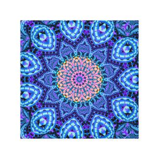Ornate Blue Flower Vibrations Kaleidoscope Art Canvas Print