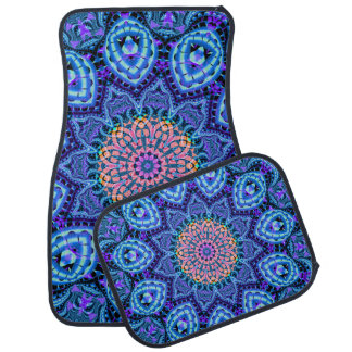 Ornate Blue Flower Vibrations Kaleidoscope Art Car Floor Mat