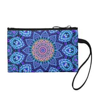 Ornate Blue Flower Vibrations Kaleidoscope Art Change Purse