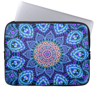 Ornate Blue Flower Vibrations Kaleidoscope Art Computer Sleeve