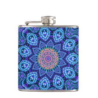 Ornate Blue Flower Vibrations Kaleidoscope Art Flask
