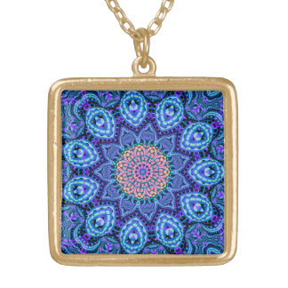 Ornate Blue Flower Vibrations Kaleidoscope Art Gold Plated Necklace