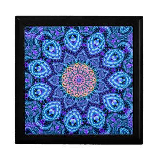 Ornate Blue Flower Vibrations Kaleidoscope Art Jewelry Box
