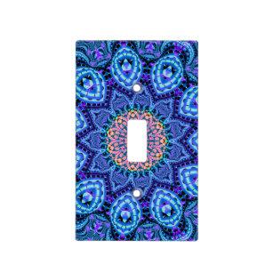 Ornate Blue Flower Vibrations Kaleidoscope Art Light Switch Cover