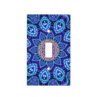 Ornate Blue Flower Vibrations Kaleidoscope Art Light Switch Plate