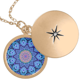 Ornate Blue Flower Vibrations Kaleidoscope Art Locket Necklace