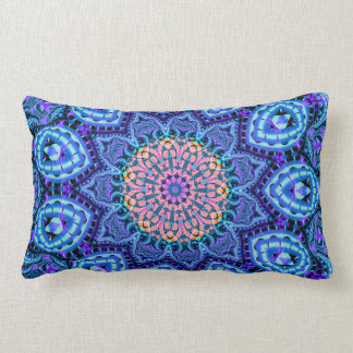 Ornate Blue Flower Vibrations Kaleidoscope Art Lumbar Pillow