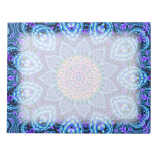 Ornate Blue Flower Vibrations Kaleidoscope Art Memo Pad