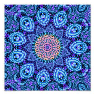 Ornate Blue Flower Vibrations Kaleidoscope Art Photo Print
