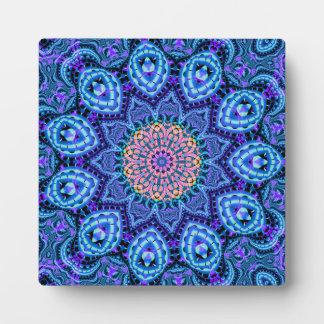Ornate Blue Flower Vibrations Kaleidoscope Art Plaque
